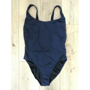 J.Crew Navy Blue One-Piece Swimsuit Plunging